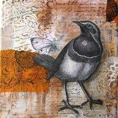 Bird - Mixed media collage painting - Cloth Paper Scissors