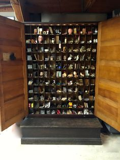 A storage cabinet in the gallery area of the studio that holds hundreds of goodies waiting to go into assemblages.