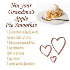 Not your Grandma's Apple Pie Smoothie made with Juice Plus Complete protein shake mix which packs the punch of 25 whole foods with plant based nutrition; 13g protein, 8g fibre, all natural sweetener, low glycemic, non-dairy, 100% vegan, no artificial flavouring, coloring or preservatives.  Available at www.GottaGetHealthy.com