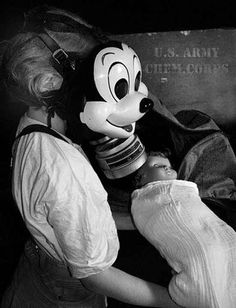 When Mickey Mouse decorated childrens' gas masks during WWII. | 21 Completely Bizarre Moments In Disney History