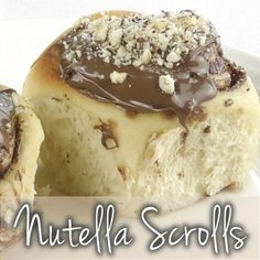 Lovers of Nutella unite, a simple and tasty scroll, great for kids lunches or picnics. This recipe is a decadent update of the classic cinnamon bun, adding chocolate-hazelnut Nutella for a gooey finish. If you'd like to serve these for b. White Chocolate Fudge, Chocolate Hazelnut, Chocolate Desserts, Thermomix Bread, Thermomix Desserts, Tostadas, Nutella Rolls, Scrolls Recipe, Delicious Desserts