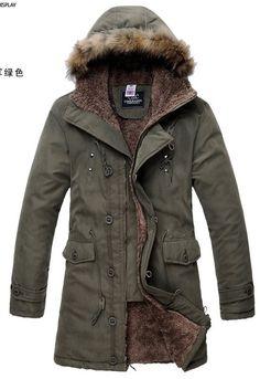 Mens Khakhi Green Hooded Cotton Parka Jacket Coat