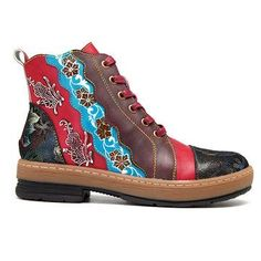SOCOFY Bohemian Splicing Flower Pattern Ankle Flat Leather Boots