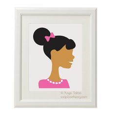 Girl in pink with afropuff  Customized Childrens by soapboxtheory, $12.00: With a soft, fluffy puff and a sweet, pink sweater, this cutie can be personalized with skintone, hair color, and background of your choice.