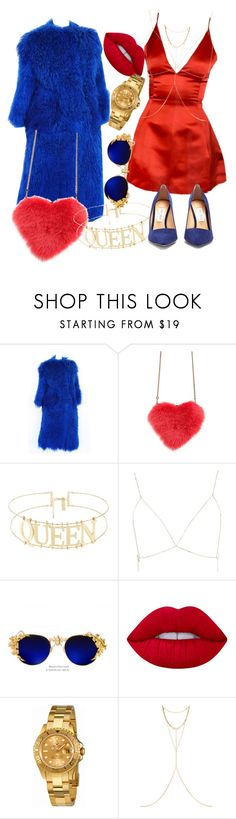 """""""🔴🔸🔵"""" by classychica237 ❤ liked on Polyvore featuring Les Petits Joueurs, Luv Aj, Lime Crime, Rolex, Chan Luu and Jimmy Choo"""