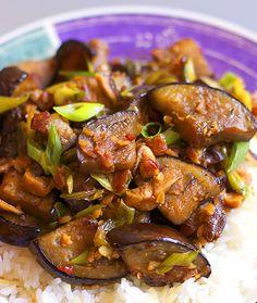 Hunan Eggplant with Bacon and Shiitakes