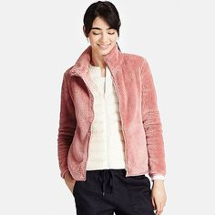 WOMEN FLUFFY YARN FLEECE FULL ZIP JACKET | UNIQLO (Pink XL)