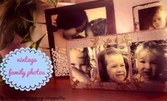 Karácsonyi ajándékötlet: Antikolt családi fotók - Vintage family photos on wooden blocks