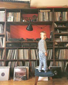 When you catch your kiddo rummaging through your record collection. Record Shelf, Vinyl Record Storage, Home Music, Vinyl Music, Vinyl Records, Cd Storage, Vinyl Room, Vinyl Junkies, Audio Room