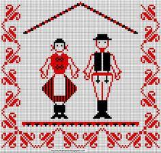 Kézimunkáim: Székely pár Chain Stitch Embroidery, Learn Embroidery, Embroidery Stitches, Embroidery Patterns, Hand Embroidery, Modern Embroidery, Stitch Head, Last Stitch, Hungarian Embroidery