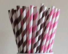 Pink and Brown Striped Paper Straws Cowgirl Theme Party Supplies Party Decor Bar Cart Cake Pop Sticks Mason Jar Straws Graduation
