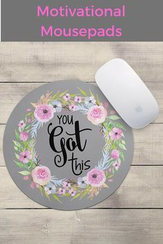 You Got This Floral Wreath Mouse Pad - Neoprene Inspirational Quote Mousepad Office Space Decor Home Office Computer Accessories Mousepads Watercolor Pink and Blue Florals Office Accessories, Computer Accessories, Office Space Decor, Office Spaces, Office And School Supplies, Things To Buy, You Got This, Decorative Plates, Floral Wreath