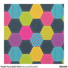 Bright Faux Quilt Fabric