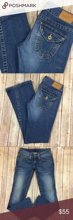 True Religion Jeans Joey Twisted Flare 27 x 32 The tag size is 27. Waist measures 15 inches across, the rise is 7.5 inches, the inseam measures 32 inches, and the cuff measures 9 inches across.  The fabric content is 99% cotton and 1% elastin. Great used condition. Always open to reasonable offers! True Religion Jeans Flare & Wide Leg