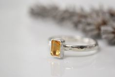 Citrine and sterling silver birthstone stacking rin £33.00