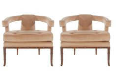 Pair of Mid-Century Velvet Lounge Chairs after Harvey Probber or James Mont 2