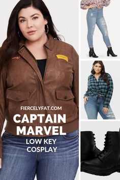 A plus size Captain Marvel inspired low key cosplay. Featuring items by Torrid, SHEIN, Zappos, and more! Plus Size Skinny Jeans, Ripped Skinny Jeans, Plus Size Quotes, Green Flannel Shirt, Plus Size Cosplay, Plus Size Hairstyles, Captain Marvel Carol Danvers, Chic And Curvy, Plus Size Tips