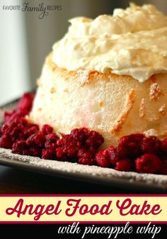 I love this Angel Food Cake with Pineapple Whip dessert because it is so fresh and yummy, but it also looks so pretty and can feed a crowd.  There are a lot of fruit delicious combinations you can pair with the pineapple whip, from berries to bananas.  I have also topped it with coconut and that is really good too!