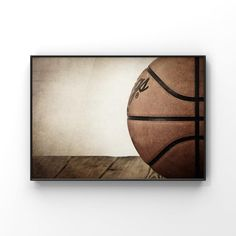 Basketball Inspired Wall Decor Art Print with woodgrain background 8x10 unframed print Great for basketball fans
