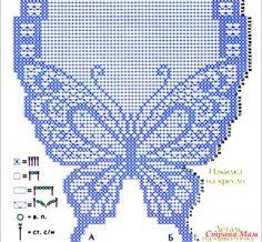 The first pancake is not a clod Crochet Curtain Pattern, Crochet Butterfly Pattern, Butterfly Cross Stitch, Crochet Curtains, Crochet Doily Patterns, Crochet Art, Crochet Home, Crochet Motif, Crochet Designs