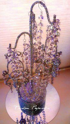 Bling Candelabra, Bling Chandelier Centerpiece, Bling and Crystal Candelabra Centerpiece. Wedding Candelabra on Etsy, $55.00