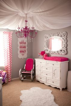 Looking for inspiration to decorate your daughter's room? Check out these Adorable, creative and fun girls' bedroom ideas. room decoration, a baby girl room decor, 5 yr old girl room decor. Girl Nursery, Girls Bedroom, Bedroom Decor, Bedroom Ceiling, Princess Nursery, Master Bedroom, Nursery Ideas, Bedroom Black, Baby Princess