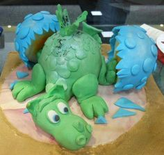 Add wings and it's a dragon! Dinosaur Birthday Cakes, Dragon Birthday, Dinosaur Party, Crazy Cakes, Fancy Cakes, Cute Cakes, Dinasour Cake, Animal Themed Food, Puff The Magic Dragon