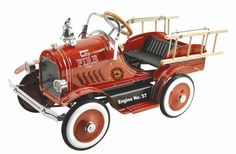 Classic 57 Deluxe Red Fire Truck Pedal Car Engine Toddler Toy Push Ride On Play  #Dexton