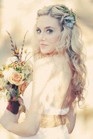 Boho chic wedding mood board style hair flowers