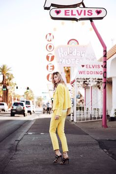"""#ESCADAEscapes: When in Vegas, be inspired by the bright lights and opt for a head-to-toe monochrome look like fashionblogger bekleidet in our """"Bardo"""" Jacket and """"Tiberla"""" Pants"""