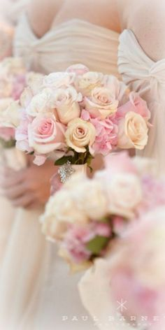 pretty pinks and creams roses bridesmaid bouquet