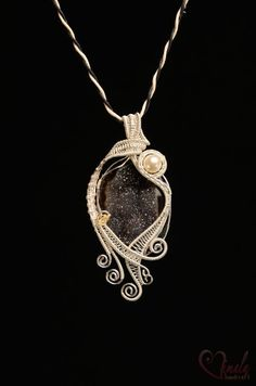 Black Pearl, Wire Wrapped Jewellery Necklace | Vimala Handmade Jewellery and Craft