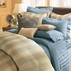 Sferra Presidio Blue Stripe Queen Sheet Set Jacquard Cotton Sateen Italy