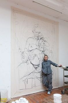 Jenny Saville - on the subject of the flesh and fecundity. How on earth does her tiny person manage to render on such a vast scale? Artist Art, Artist At Work, Jenny Saville Paintings, Figure Drawing, Painting & Drawing, Atelier Photo, Figurative Kunst, Art Studios, Painting Inspiration