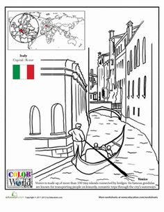 This geography worksheets stops in Venice, Italy. The coloring page lets you color in canals of the famous city. Italy For Kids, Geography Worksheets, Italian Lessons, Five In A Row, World Thinking Day, Les Continents, Learning Italian, We Are The World, Lessons For Kids