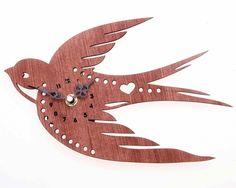 Retro/Vintage wooden Woodland Flying Swallow bird Wall Clock