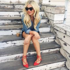 topshop red lace up shoes chambray shirt karen walker sunnies fall fashion style