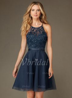 Bridesmaid Dresses - $109.89 - A-Line/Princess Scoop Neck Knee-Length Tulle Bridesmaid Dress With Beading Sequins (0075097724)