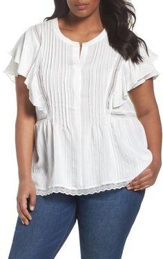 Plus Size Women's Sejour Lace Trim Pintuck Pleated Top.
