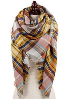 ❤️this blanket scarf with mustard accented plaid for the fall!    •$18•