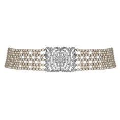 Art Deco French Pearl And Diamond Choker