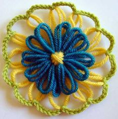 Written directions on post---Double layer loomed flower