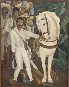 Emiliano Zapata, a champion of agrarian reform and protagonist in the Mexican Revolution, leading a band of peasant rebels armed with provisional weapons, including farming tools. With the bridle of a white horse in his hand, Zapata stands triumphantly beside the dead body of a hacienda owner. Though Zapata was often vilified in contemporary press as a treacherous bandit, Rivera immortalized him as a hero and glorified the victory of the Revolution in an image of violent but just vengeance.