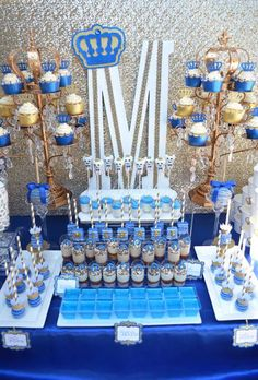 """Looking for the perfect Baby Shower inspiration? Try this """"ROYAL affair"""". Dessert table decor 'royal' themed with royal blue and gold colors. Shower Party, Baby Shower Parties, Baby Shower Themes, Baby Boy Shower, Baby Shower Decorations, Shower Ideas, Buffet Dessert, Dessert Table Decor, Prince Birthday Party"""