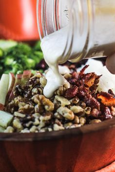 Broccoli Cranberry Salad with Walnuts, Bacon and Apples