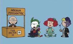 Funny Batman Mashups and Crossovers (peanuts) Man Of Steel Film, Humor Batman, Funny Batman, Pamela Isley, Hugo Strange, Nananana Batman, Cotton Headed Ninny Muggins, I Am Batman, Batman Stuff