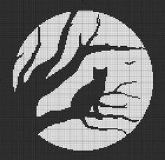 Cat and moon cross stitch Diy idea how to make tutorial sew pattern Cross Stitch Charts, Cross Stitch Patterns, Cross Stitching, Cross Stitch Embroidery, Cross Stitch Silhouette, Moon Silhouette, Halloween Cross Stitches, Cross Stitch Animals, Tapestry Crochet