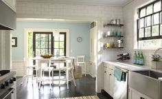 Blue Kitchen Walls with White Cabinets Love Still Loving White Subway Tile Kitchen Collection, Home, Home Kitchens, Kitchen Design, Sweet Home, Blue Kitchen Walls, House, Kitchen Interior, Light Blue Kitchens