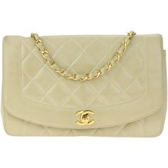Pre-Owned Chanel Vintage Beige Lambskin Diana Flap Bag (4.182.810 COP) ❤ liked on Polyvore featuring bags, handbags, beige, pre owned handbags, strap purse, lambskin handbags, lambskin leather handbags and woven handbags