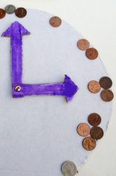 Combined learning activity: Coin counting and telling time (analog style, the lost art)